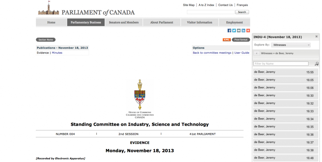 Online Evidence of the Standing Committee on Industry, Science and Technology, by Jeremy de Beer