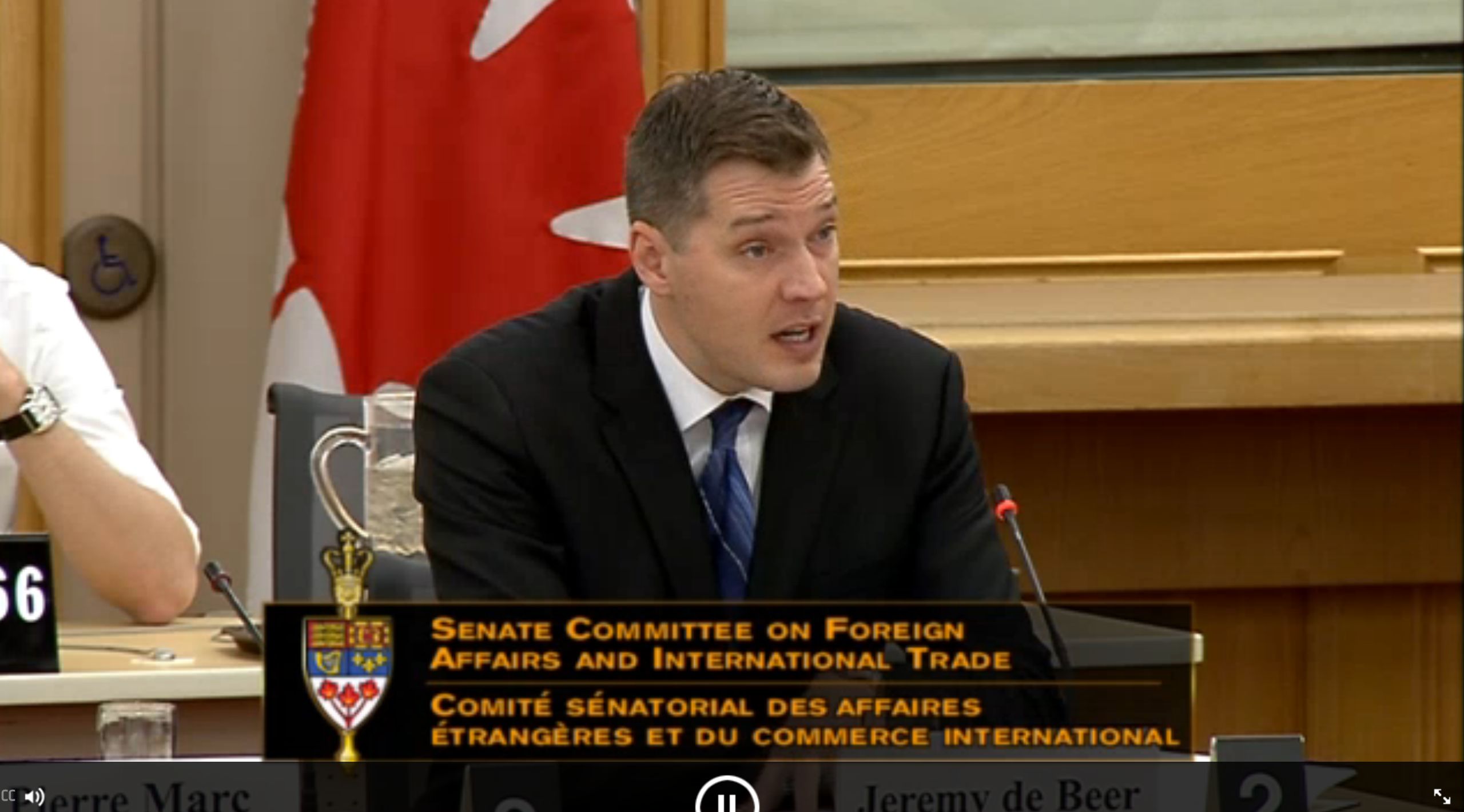Professor de Beer testifies to Senate about CETA, intellectual property and innovation.